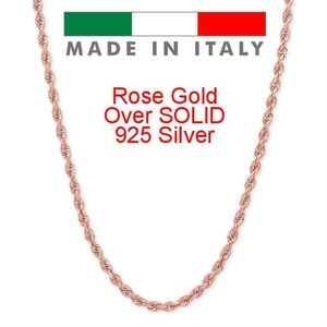 Harlembling 14K Rose Gold Silver 2mm  Rope Chain